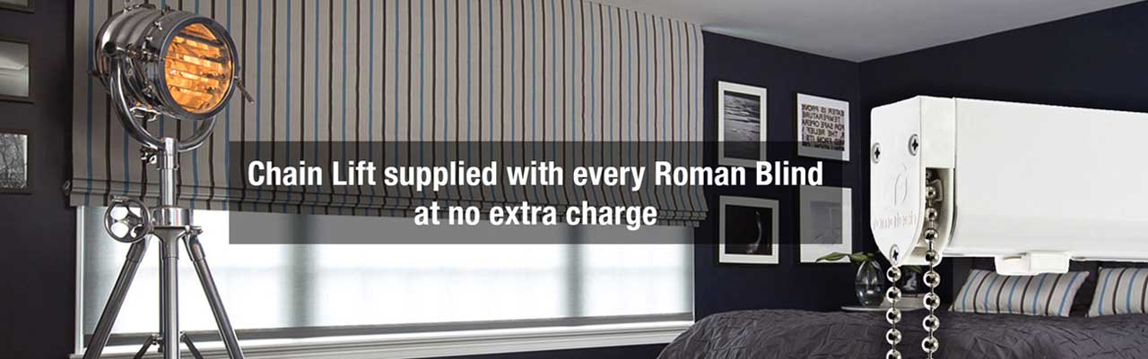 Chain Lift Supplied with every Roman Blind at no extra charge